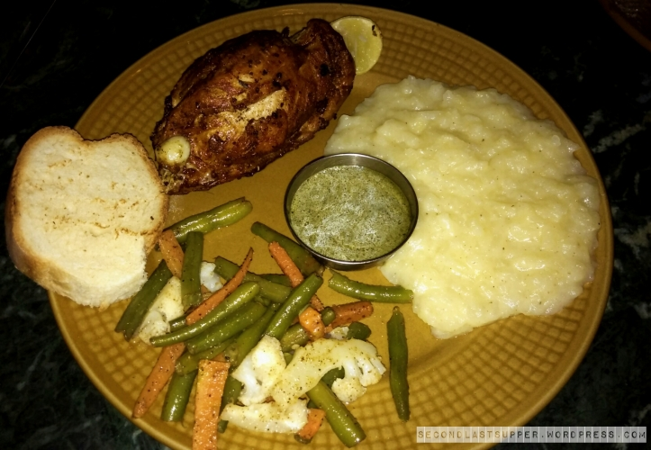 Grilled Sicilian chicken with mashed potato and grilled Mediterranean veggie