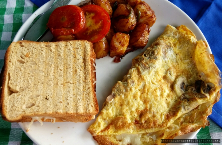 Cheese breakfast(cheese omelette, cheese toast & coffee shake)