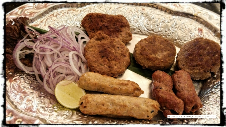kachhe keema ki shami, shami kawab, mutton seekh, chicken seekh (clockwise from top left)