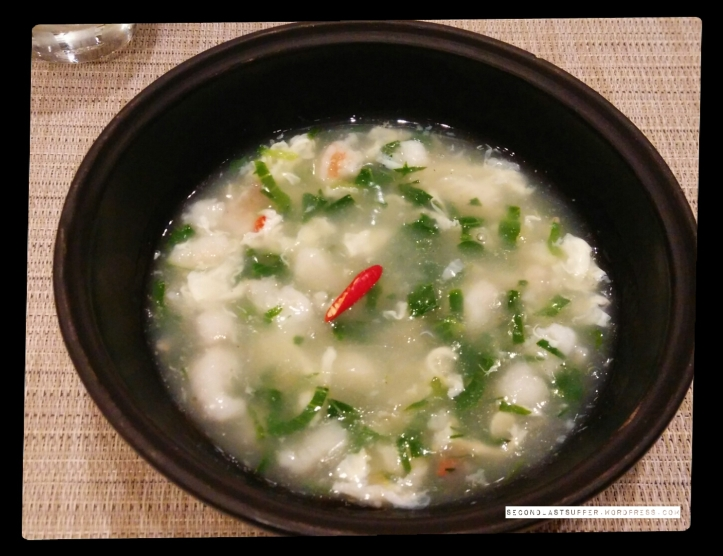 Jade Seafood soup- China (Spinach and Pockchoy with Shrimp and Fish )