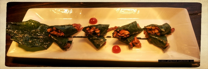 Stir-fried chicken with Hoisin & Basil in Betel-leaf