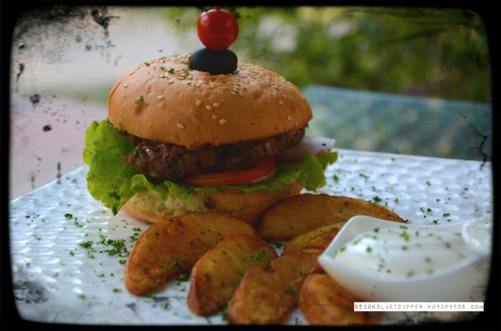 Lamb burger with feta cheese