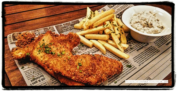 Fish and chips with cold goat cheese spread