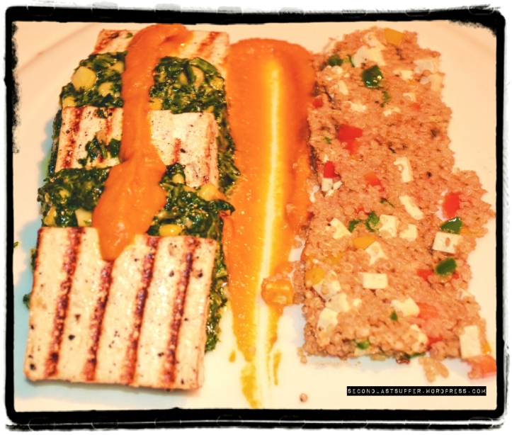 Cottage cheese millefeuille with creamy spinach and sweet corn (quinoa and tofu pilaf, smoked carrot and cilantro potage)