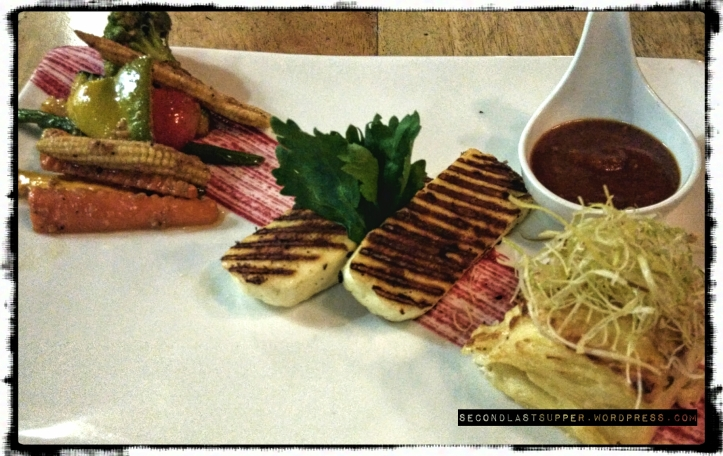 Grilled Halloumi steaks (milk and oregano, marinated Halloumi steak served with pave of potato)