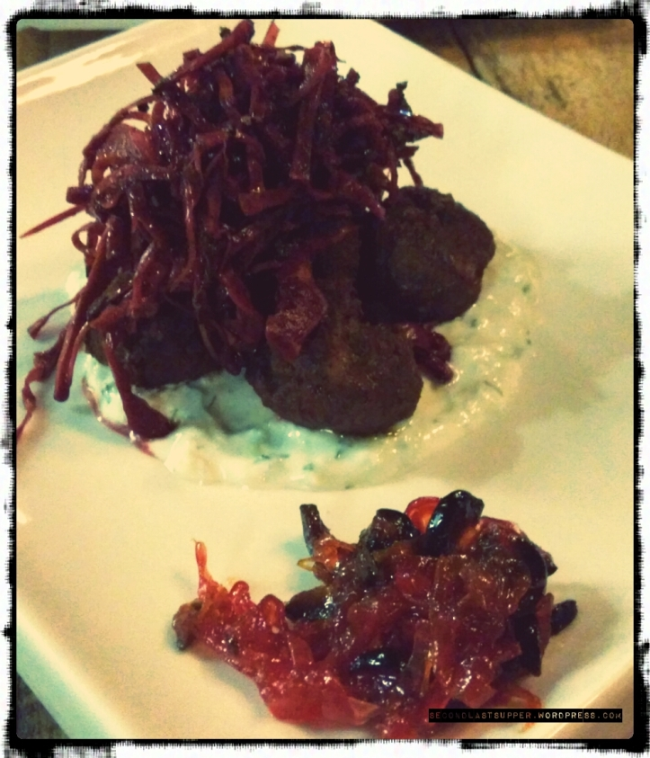 Lamb-Keftedes (lamb minced balls served with Tzatziki, tomato olive refresh & red-cabbage salad )