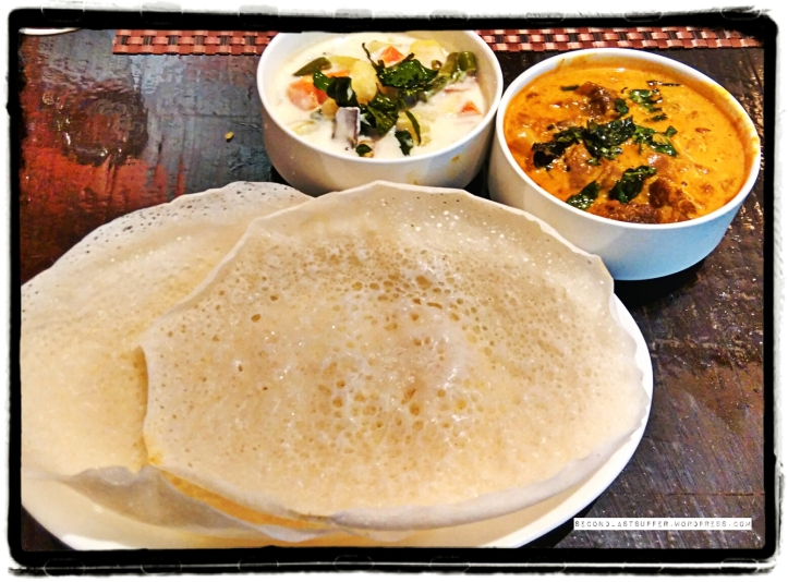 Vegetable stew & Mutton curry with Appam