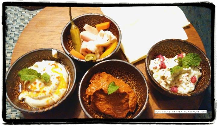 Mezze Platter with Hummus, Babaghanoush & Muhammara