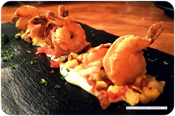 Wasabi prawn with mango salsa
