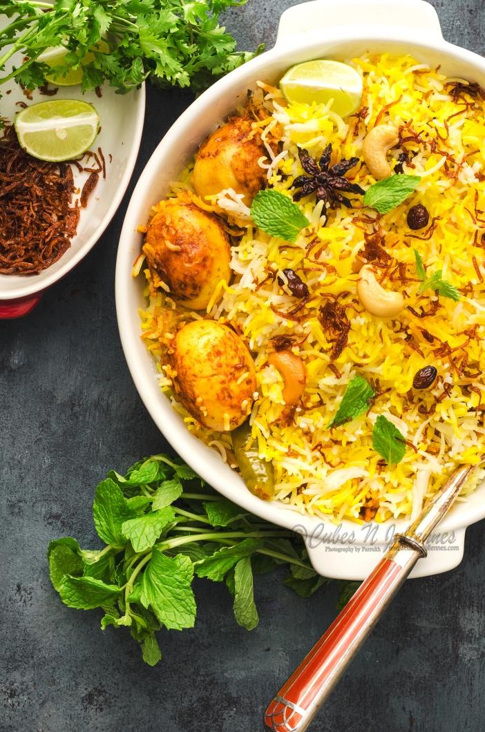 1-Madrasi style anda (egg) dum biryani