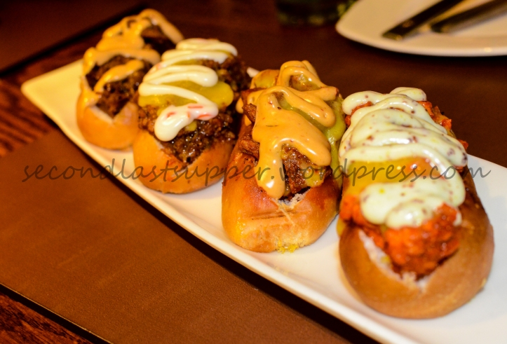Hot Dog Sliders (From left Andhra Chicken, Pulled lamb, Chunky Chicken & Grilled chilli dog melt)
