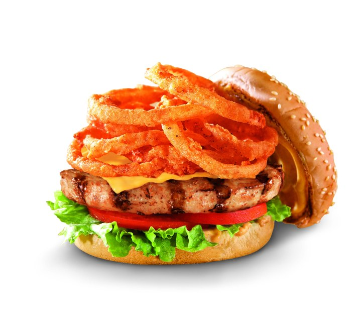 Mile-High Burger with onion rings