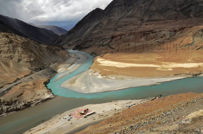 Panoramic view of Sangam. The clearer one is Zanskar while the bottom one is Indus