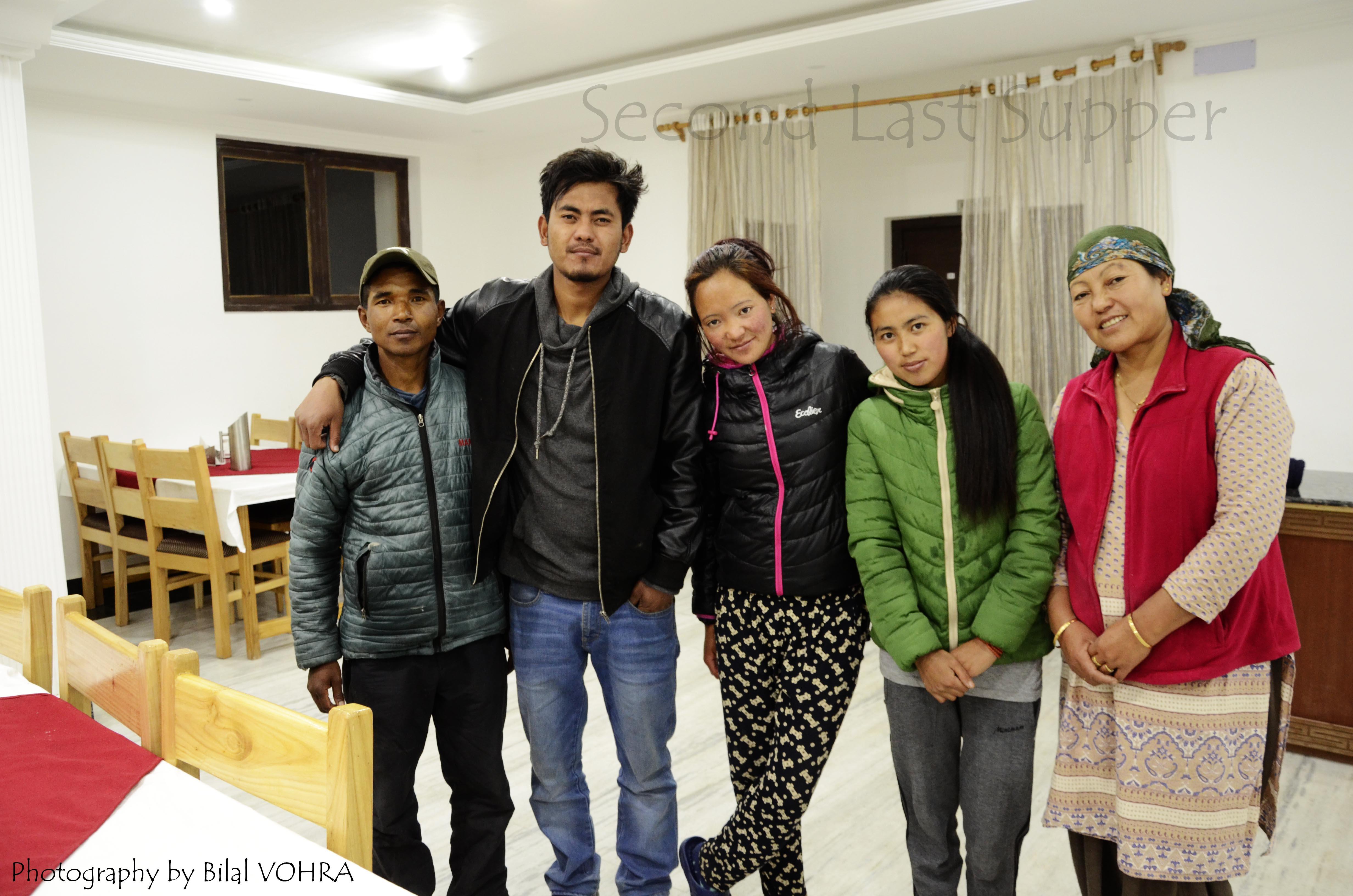 from L-R Kumar Tawang (chef), Tsewang Nurbu (owner), Deachen Chonzom (Help), Kunzang Angmo (help), Yeznchen Lanzes (Mom, Ladakhi cook)