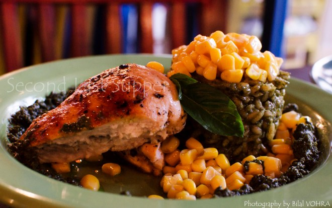 Grilled Chicken with Risotto Milanesa and corn