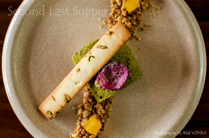 Pistachio and Green Tea Chiffon (Yuzu Cream, Vanilla Sable, Orange Jelly and Cranberry Crumble)