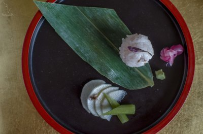 Temari Sushi( Japanese rice marinated with Sakura flower, leafs as well as sakura syrup)