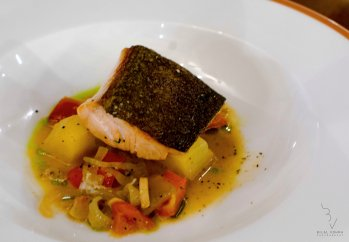 Halibut fillet with Potato stew and basil oil