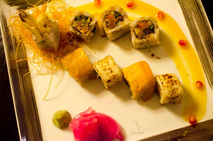 Veg Sushi Roll (Mango & Vegetable Tempura, Mango and Baked Cheese, Mango and Vegetable Rainbow)