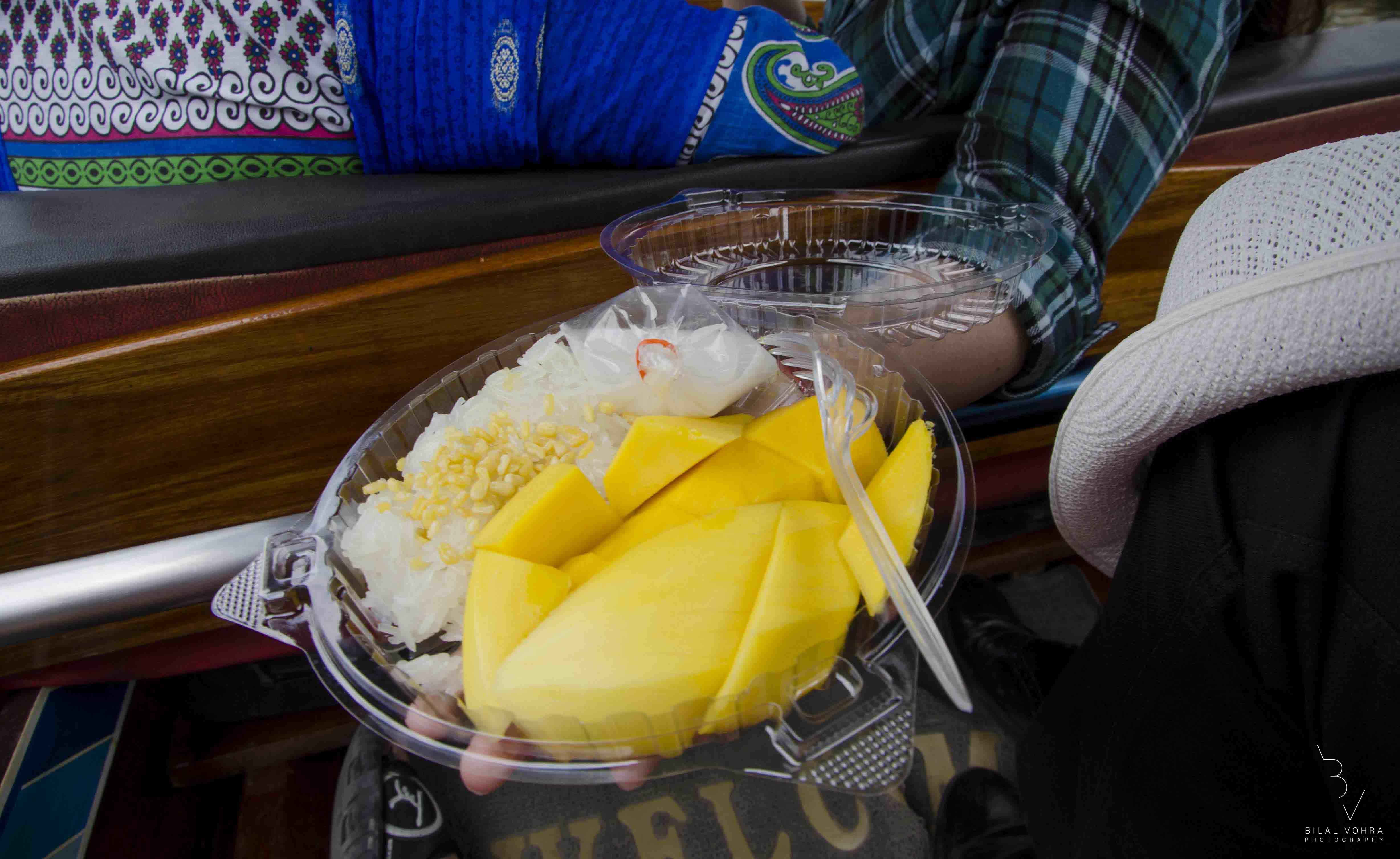 Mango & Sticky Rice being sold in floating market