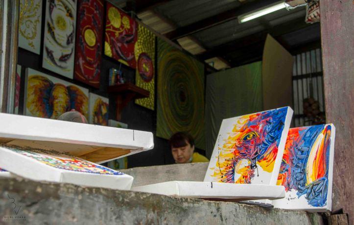 Artwork being sold at Damnoen Saduak